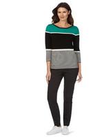 W.lane Contrast Yoke Stripe 3/4 Sleeve Pullover - Multi - S