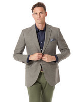 Slim Fit British Wool With Cashmere Cotton/cashmere Jacket In Silver Size 42 Short by Charles Tyrwhitt