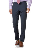 Blue Panama Slim Fit British Suit Trousers Size W91 L86 by Charles Tyrwhitt