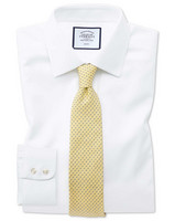 Extra Slim Fit Non-Iron White Triangle Weave Cotton Business Shirt Single Cuff Size 42/89 by Charles Tyrwhitt