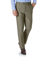 Olive Classic Fit Stretch Non-Iron Trousers Size W91 L81 by Charles Tyrwhitt